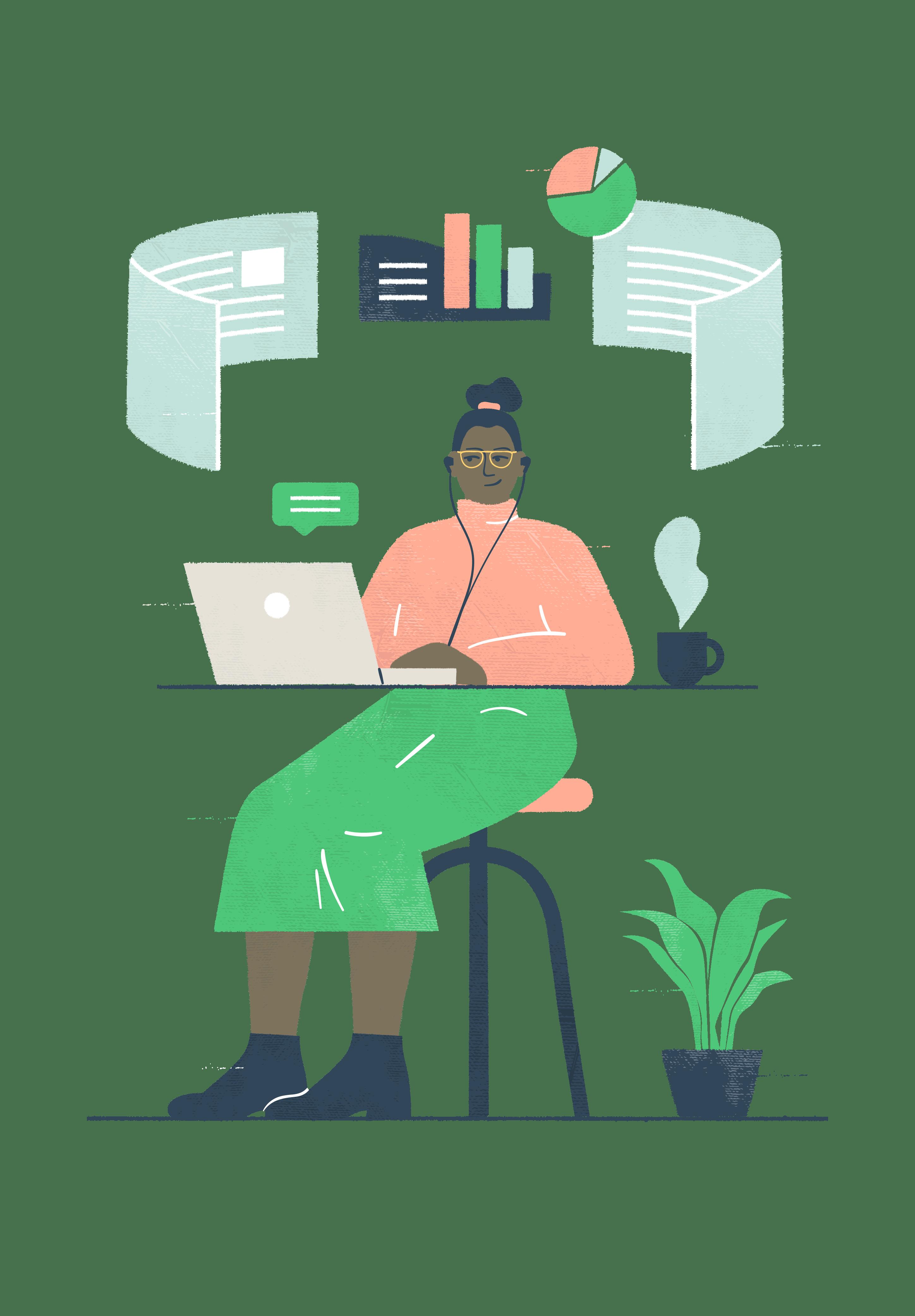 Kuvituskuva: tilinpäätös, tilintarkastus, rekisteröinti
